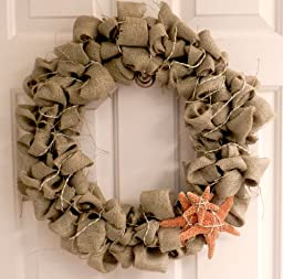 Hinterland Trading Sugar Starfish and Green Natural Burlap Wreath 22\