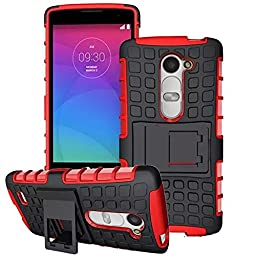 LG Leon LTE C40/ Tribute 2 (LS665) / Destiny L21G / Power L22C / Risio Case, DRUnKQUEEn® Heavy Duty Rugged Hybrid Armor Dual Layer Hard Shell Tread Grenade Grip Combat Textured Cover with Kickstand