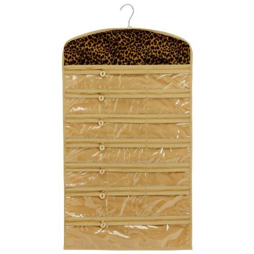 leopard 40 zipper pockets dual sides space saving hanging earrings necklace bracelet closet. Black Bedroom Furniture Sets. Home Design Ideas