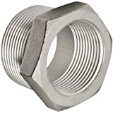 "Stainless Steel 316 Cast Pipe Fitting, Hex Bushing, Class 150, 1/2"" NPT Male X 1/4"" NPT Female"