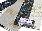 「京紫織」 着物や浴衣に 女性用 優雅な柄の半幅帯(細帯) 長尺 合繊「黒 花柄」HOB760
