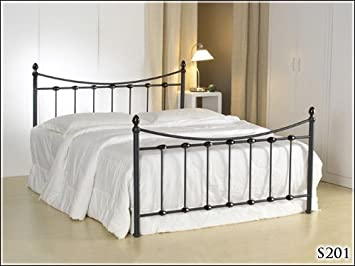 BRAND NEW 5ft BLACK METAL KING SIZE BED FRAME BEDSTEAD AND SLUMBER SLEEP ORTHOPAEDIC ORTHO MATTRESS
