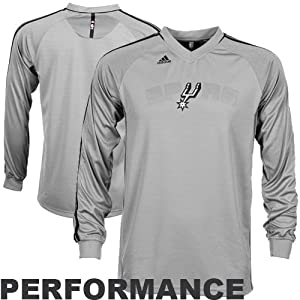 NBA adidas San Antonio Spurs Youth On-Court Shooter Long Sleeve Performance T-Shirt -... by adidas