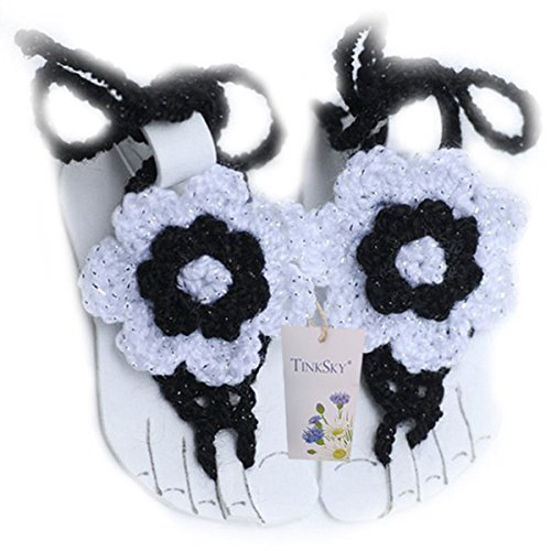 TinkSky Cute Newborn Toddlers Baby Infant Girls Handmade Crochet Barefoot Sandals Flower Shoes Photo Prop (White+Black)