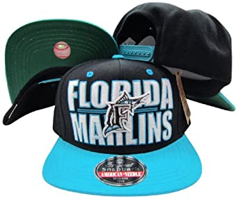 Florida Marlins Block Two Tone Plastic Snapback Adjustable Plastic Snap Back Hat Cap by American Needle