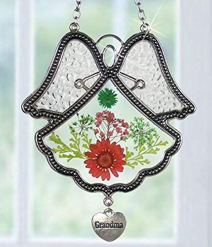 Grandma Angel Suncatcher Silver Metal & Glass with Pressed Flower Wings & Heart Shaped Charm - 4.5 Inch