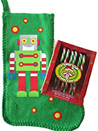 Rockin\' Robot Christmas Stocking Bundle - 2 Items: One Felt Robot Themed Christmas Stocking and One Pack of Super Sour Warheads Candy Canes