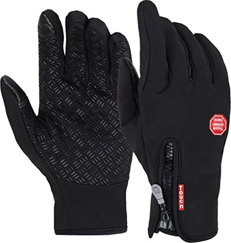 Andyshi Men's Winter Outdoor Cycling Glove Touchscreen Gloves for Smart Phone Black L