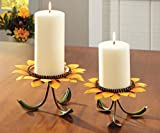 Sunflower Pedestal Candle Holder Set