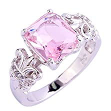 buy Psiroy 925 Sterling Silver Exquisite Cushion Cut Pink Topaz Cocktail Filled Ring For Women