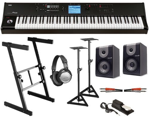 cheap korg m50 88 88 key music workstation synthesizer complete studio bundle discount low. Black Bedroom Furniture Sets. Home Design Ideas