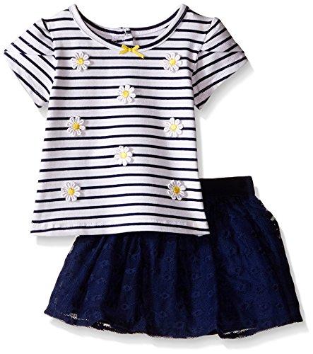 Little Me Little Girls Daisy 2 Piece Skort Set, Navy, 18 Months