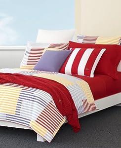"Lacoste Twin Duvet Comforter Cover Set ""Spinnaker"" Multi Color NEW"