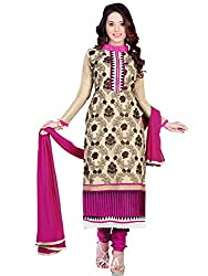 Mahiyar Charming Beige And Rani Pink Embroidered Salwar Kameez