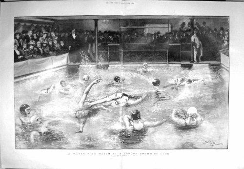 1897 Water Polo Match London Swimming Club Sport