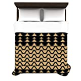 Kess InHouse Nina May Deco Angles Gold-Black 88 by 104-Inch Duvet Cover, King