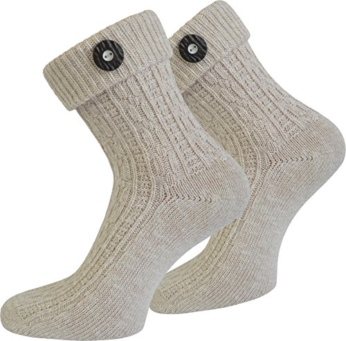 Socken-kurz-oder-Lang-fr-Trachten-Lederhose-Farben-frei-whlbar-Farbe-Naturmelange-mit-Trachten-Knopf-Gre-4346