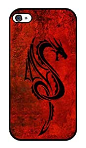 """Humor Gang Red Dragon Printed Designer Mobile Back Cover For """"Apple Iphone 4 - 4S"""" (2D, Glossy, Premium Quality Snap On Case)"""