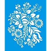 21cm x 17cm Reusable Flexible Plastic Stencil for Graphical Design Airbrush Decorating Wall Furniture Fabric Decorations Drawing Drafting Template - Flowers Leaves Bunch