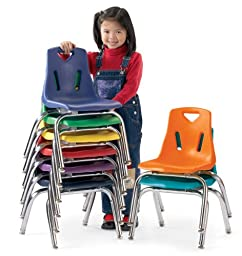 Berries 8146JC1008 Stacking Chair with Chrome-Plated Legs, 16\