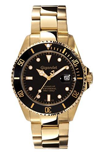 Gigandet Reloj de Hombre Automático Sea Ground Reloj de Buceo Analógico Correa de Acero Negro Oro G2-004