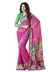 Indian Designer Sari Chic Geometrical Printed Faux Georgette Saree By Triveni