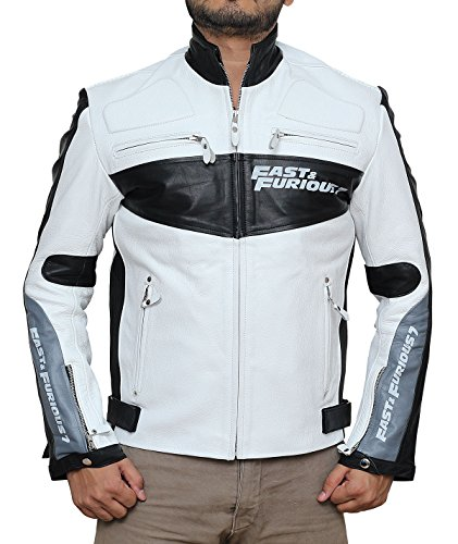 Fast and Furious Vin Diesel White Biker Real Leather Jacket 3XL