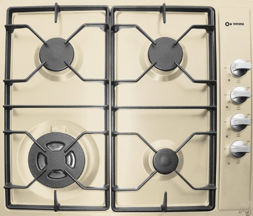 Verona VECTG424SB 24″ Gas Cooktop with 4 Sealed Burners, Electric Ignition, Variable Start Burners and Cast Iron Grates: Bisque  ->  Verona kitchen appliances are manufactured in Ital