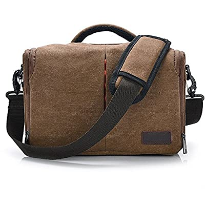 Dolphin fashion Waterproof Canvas SLR DSLR Digital Camera Bag Case Casual Shoulder Bag for Canon Nikon Sony with Shockproof Insert, Coffee