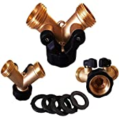 Garden Hose 2 Way Splitter - Solid Brass Y Tap Connector Valve - With 5 Add On Washers - Leak Proof Warranty
