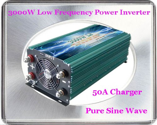 3000 Watt Continual 12000 Watt Surge Low Frequency Pure Sine Wave Power Inverter Converter Transformer 24 V Dc Input / 110 V-120 V Ac Output 60 Hz Frequency With 50A Battery Charger Power Tools