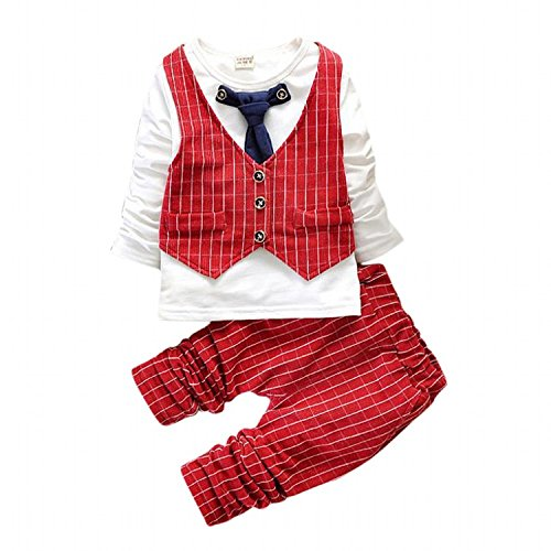 IDGIRL infant and toddler tuxedos Gentleman formal wear Wedding suit BD037-4T-red