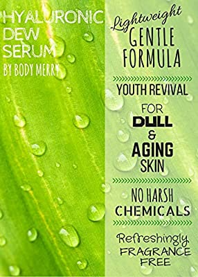 Body Merry Hyaluronic Acid Serum for Anti-aging with Vitamic C and Natural Green Tea, 2 Oz