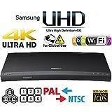 SAMSUNG M9500 UHD - Wi-Fi - Dual HDMI - 2K/4K - Region Free Blu Ray Disc DVD Player - PAL/NTSC - USB - 100-240V 50/60Hz for World-Wide Use & 6 Feet Multi System 4K HDMI Cable (Color: Black)