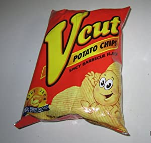 V Cut Potato Chips Spicy Barbecue Flavor Pack of Three 2.12oz Per Pack