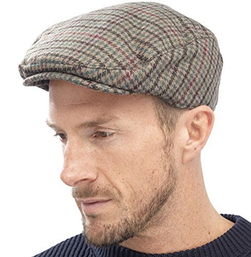 Adults Unisex Mens ladies Tweed Country Style Flat Cap Hat M/L 58cm Olive