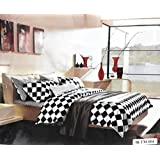 Black Panther Glace Small Block Print Cotton Double Bedsheet With 2 Pillow Covers- King Size, (Black&white)