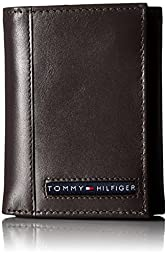 Tommy Hilfiger Men\'s Leather Cambridge Trifold Wallet, Brown, One Size