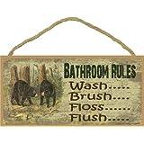 "Black Bear Bathroom Rules Brush Wash Flush Floss Bath Sign Plaque Lodge Cabin 5""x10"""