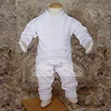 Little Things Mean A Lot Baby Boys White Cotton Knit 2 pc Christening Baptism Outfit 0-24M L