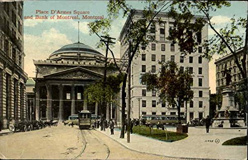 Place D'Armes Square And Bank Of Montreal Montreal, Pq Original Vintage Postcard