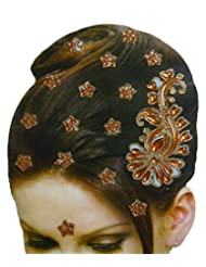 DollsofIndia Golden And Rust Color Stone Studded Stick-on Hair Decoration (Can Be Used On Other Parts Of The Body...