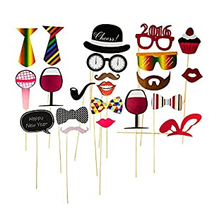 2016 23pcs New Year's Eve Party Photo Booth Props Party Accessories Glass Cap Moustache Lips with Stick, No Diy, Christmas Gifts, Photo Masks / Christmas Party Decoration Favors