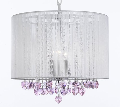 """Crystal Chandelier Chandeliers With Large White Shade And Pink Crystal Hearts! H15"""" X W15"""" - Perfect For Kids' And Girls Bedrooms! front-184549"""