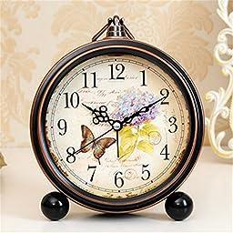 FirstDecor 5 inch Beautiful Butterfly Pattern Alarm Clock Desktop Clock Table Clocks Retro Vintage Home Decoration Desk Clock Silent Quartz European style Wall Clock