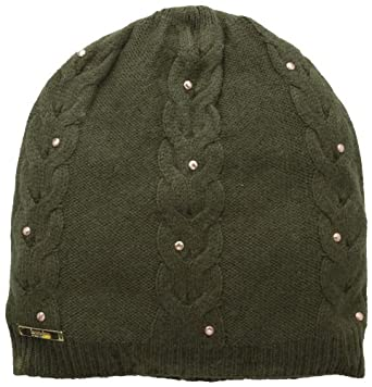 Laundry by Shelli Segal Women's Drop Stitch Cable Knit Slouchy Beanie Hat, Olive/Copper, One Size