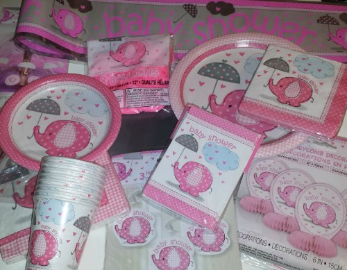 Elephant Birthday Plates: Umbrellaphants Deluxe Pink Elephant Baby Shower Party