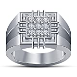 Vorra Fashion Wonderful Band Ring 925 Sterling Silver White Platinum Plated Round Cut White CZ For Men's (14)