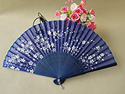 SOCOOL66 Delicate Cherry Blossom Design Silk Folding Fan Favors, 1
