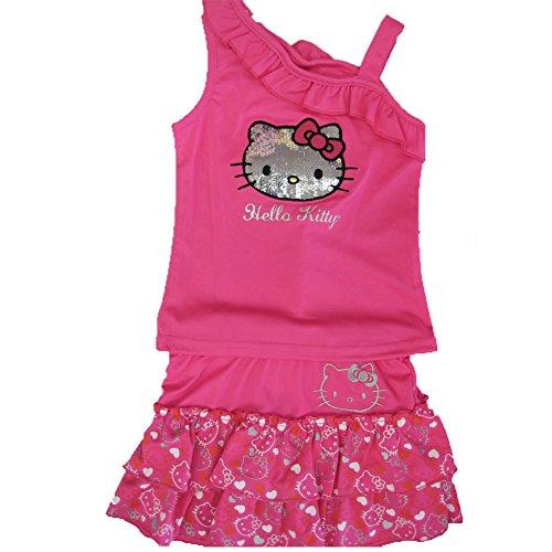 Hello Kitty Little Girls Fuchsia Ruffle Shoulder Sequined 2 Pc Skirt Set 5